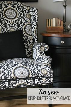 No Sew Reupholstered Wingback Chair: How I turned a free, but ugly chair into a showpiece!
