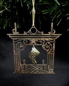 vintage brass fireplace Christmas ornament, detailed stocking candlesticks fire place Christmas tree trimmer yesteryears new home gift by LisaLiYesterYears on Etsy