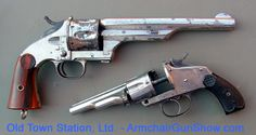 "❦ The Merwin Hulbert is an unsual gun and something of a mystery. Most people have never heard of them. They're very well made and accurate revolvers, though probably less reliable. They work by pushing a button in front of the trigger and then twisting the barrel and cylinder to the left and pushing it forward. All the cartridges are ejected simultaneously.  They all had 7"" barrels and were pretty big, mostly chambered for the .44-40."