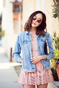 Pink dresses and jean jackets.