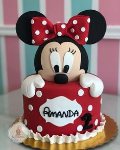 Bolo Minnie lindo ❤️ por , via 🖤❤️ Torta Minnie Mouse, Bolo Do Mickey Mouse, Minnie Mouse Birthday Cakes, Mickey Cakes, Baby Birthday Cakes, Mickey Birthday, 2nd Birthday, Minnie Mouse Cookies, Mickey And Minnie Cake