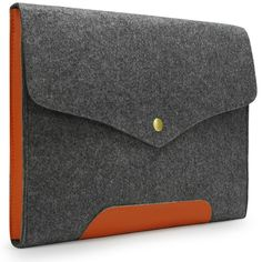 "$13.99 - Lavievert Gray Felt Case Leather Bottom Bag Magnetic Button Sleeve for Apple 13"" Macbook Pro / 13"" Macbook Pro with Retina / 13"" Macbook Air and Most Popular 13-13.3 Inch Laptop / Notebook Computer / Ultrabooks"