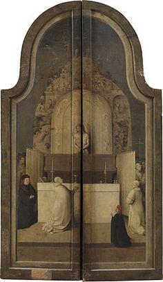 Hieronymus Bosch - la messe de st Grégoire (dos du tryptique) grisaille sur bois 138-66 cm
