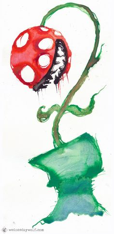 abstract piranha plant print