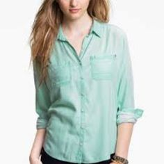 Rubbish Mint Green Button Up 100% Rayon button up shirt. So soft great for cooler days. Looks great with leggings or skinny jeans. Rubbish Tops Button Down Shirts