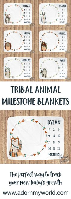 TRIBAL ANIMALS MILESTONE BLANKETS - The perfect way to track your new baby's growth with monthly photos which will be treasured for years to come. A perfect baby shower or newborn gift.   #adornmyworld #milestoneblankets #tribalanimals #babyblankets #tribalnursery