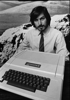 Steve Jobs with the Apple II, the world's first home computer. 5 June 1977.