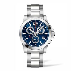L37004966 Ανδρικό ελβετικό quartz ρολόι LONGINES Conquest χρονογράφος με μπρασελέ, μπλε καντράν & ημερομηνία | LONGINES ΤΣΑΛΔΑΡΗΣ στο Χαλάνδρι #conquest #chronograph #longines #ρολόι