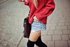 red, high waisted shorts and high socks - <3
