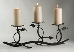 iron pillar candle holders | 24 Wrought Iron Three Tier Pillar Candle Holder Vine and Grape Leaf ...