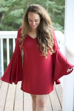 red bell sleeved dress, shein dress, v-neck, holiday dress