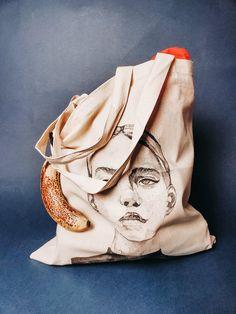 Black White Portrait Illustration Boho | Large Washable Tote Bag Canvas | Travel Bags for Women | Tote Purse Gift Bag