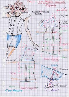 Ici : faite sur le corsage de base, donc ajusté peut ce faire sur un corsage droit ou chemise, ou corset...=meme Methode zoom = clic l'img ! T Shirt Sewing Pattern, Dress Sewing Patterns, Bodice Pattern, Collar Pattern, Pattern Drafting Tutorials, Sewing Tutorials, Sewing Collars, Sewing Blouses, Pattern Cutting