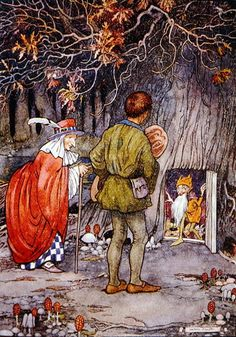 Illustration from 'The Land of Happy Hours' by Stella Mead (colour litho) illustrated by Helen Jacobs