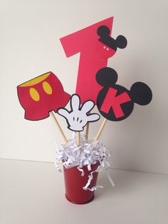 Mickey Mouse birthday party decoration, centerpiece, decorations, personalized by AlishaKayDesigns on Etsy https://www.etsy.com/listing/174699572/mickey-mouse-birthday-party-decoration