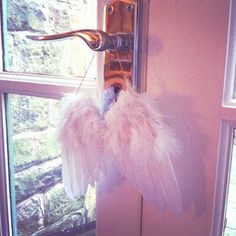 Feather Angel wings Hanging decoration to hang as wedding decor. Also makes a sweet Wedding or Christening Gift