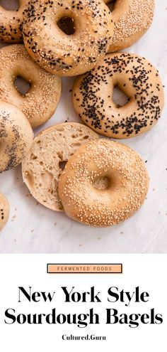 I've never met a person who doesn't like bagels. I've met plenty of people who are anti-carbs, but no one can deny that bagels are delicious. Can we talk about the next level deliciousness of these New York-style sourdough bagels, though? I've NEVER had a Vegan Bagel, Bagel Toppings, Vegan Bread, Sourdough Bagels, Sourdough Recipes, Bread Recipes, My Recipes, Baking Recipes, Deserts