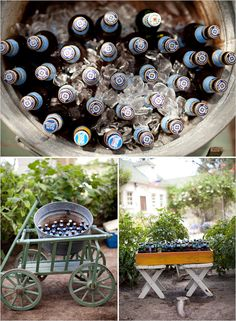 cute, vintage galvanized steel tubs to throw beer in! i saw some on craigslist, 3 for $75. You can use them for planters after!