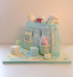 Sweet Jeelees Ltd added a new photo. Torta Baby Shower, Baby Shower Cakes For Boys, Cupcakes, Cupcake Cakes, Baby Cakes, Diaper Bag Cake, Diaper Bags, Beautiful Cakes, Amazing Cakes