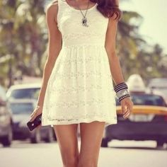 Causal cute white dress. wish it was above the knee instead