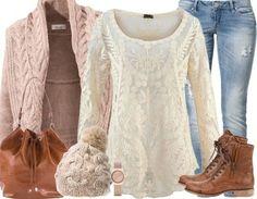 ♥ Casuallook mit Mütze, Jeans und Strickcardigan ♥ #ootd #stiefeletten #strick