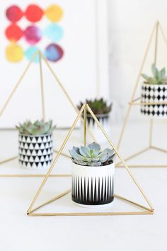 DIY Himmeli Triangle Succulent Holder- A very modern way to display succulents Handmade Home Decor, Diy Home Decor, Suculentas Diy, I Spy Diy, Diy Y Manualidades, Succulent Planter Diy, Diy Casa, Deco Originale, Creation Deco