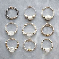 Bracelets with quartz, marble and feldspar Wire Jewelry Rings, Beaded Rings, Wire Wrapped Jewelry, Beaded Jewelry, Jewelery, Beaded Bracelets, Handmade Jewelry Designs, Handmade Rings, Earrings Handmade