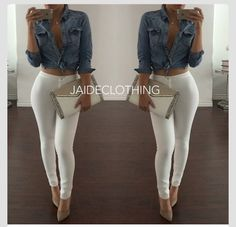 white and jeans Sexy Outfits, Summer Fashion Outfits, Ootd Fashion, Boho Outfits, Fashion Pants, Pretty Outfits, Beautiful Outfits, Casual Outfits, Fashion Hair