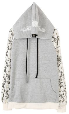 Grey Long Sleeve Contrast Lace Embroidered Sweatshirt - Sheinside.com