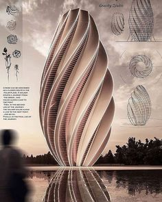 Architecture concept design by Mohanad Albasha. Use the link to find out how to ace any project in architecture school. Concept Models Architecture, Architecture Presentation Board, Green Architecture, Architecture Student, Futuristic Architecture, Architecture Details, Tower Design, Beautiful Home Designs, 3d Max