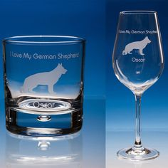 German Shepherd Gift Personalised Engraved Fine Quality Wine or Whisky Glass - Your Message - Birthday Gift, Christmas Gift, Dog Lover Gift