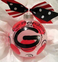 Big G  Hand painted Christmas Ornament by SassyfrasDesignz on Etsy, $19.99