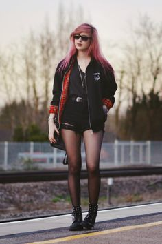 Black Harrington Jacket, Grey Leather hex Jumper, Pins & Needles Soft V-Neck Tee, Black Pockets Ripped Denim Shorts and Dr Martens boots Grunge Outfits, 90s Fashion Grunge, Punk Fashion, Trendy Outfits, Cute Outfits, Fashion Outfits, Womens Fashion, Fashion Trends, Dope Fashion
