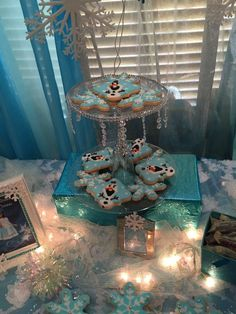 Cute Olaf cookies at a Frozen birthday party! See more party planning ideas at CatchMyParty.com!