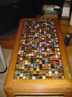 How to make a bottle cap table with hot glue and clear resin
