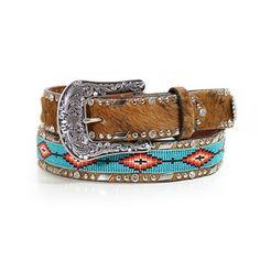 Ariat Women's Aztec Bead and Hair on Hide Belt