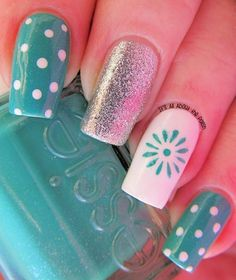 Polka dots and sun with silver glitter nails