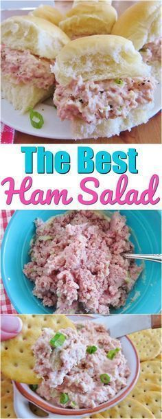 The Best Ham Salad recipe from The Country Cook The best ham salad recipe only requires a food processor, mayonnaise, celery, onion and perfectly combined seasonings! This is the most requested ham salad! Ham Salad Recipes, Salad Recipes For Dinner, Dinner Salads, Pork Recipes, Appetizer Recipes, Keto Recipes, Low Carb Ham Salad Recipe, Chopped Ham Salad Recipe, Honey Baked Ham Salad Recipe