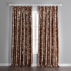 (One Panel) Brown Floral Embossed Blackout Curtains – JPY ¥ 3,253