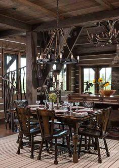 Rustic Western Cabin = #western #westerndecor #cabin #cabinlife #rustic #kitchen #greatroom