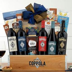 Wine Gift Baskets - Coppola Business Gourmet Wine Basket Gourmet Baskets, Wine Gift Baskets, Welcome Gifts, Wine Gifts, Naan, Wines, Chocolate, Business, How To Make