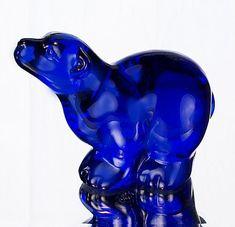 Fenton Art Glass Polar Bear in Cobalt Blue Glass Cobalt Glass, Cobalt Blue, Buy A Kitten, Rhapsody In Blue, Fenton Glassware, Glass Animals, Ceramic Animals, Glass Figurines, My Favorite Color