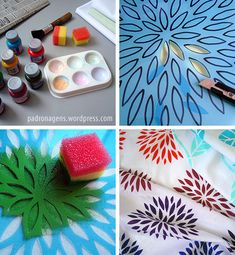 New screen printing designs stencil paint ideas Stencil Printing, Stamp Printing, Stencil Art, Printing On Fabric, Screen Printing, Stencil Patterns, Stencil Designs, Diy And Crafts, Crafts For Kids