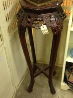 Pedestal Table Carved Wood with Marble Top $145 @Lula B's West