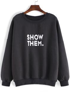 Black Round Neck Letters Print Loose Sweatshirt -SheIn(abaday)