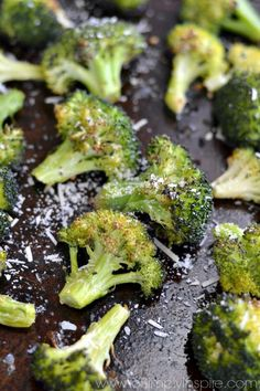 This simple garlic parmesan roasted broccoli is a fantastic healthy side dish. Quick 5 minute prep for a bursting with flavor veggie! | www.ToSimplyInspire.com