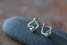 Small Unique Silver Earrings, Tiny wire wrapped sterling silver studs by CookOnStrike