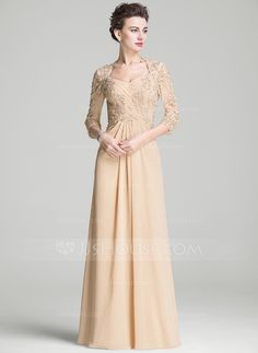 A-Line/Princess Sweetheart Floor-Length Ruffle Beading Appliques Lace Sequins Zipper Up Sleeves 3/4 Sleeves No 2016 Champagne Spring Summer Fall Winter General Plus Chiffon Mother of the Bride Dress