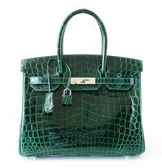 Available mightychic.com Hermes Birkin 30 Bag EMERAUDE (Emerald) Porosus Crocodile Palladium