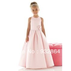 2013 Hot-sale A-line Jewel Buttons/Sashes Floor-length Ball Gown Elegant Satin Flowergirl Dresses LF058 $67.00